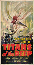 """Movie Posters:Documentary, Titans of the Deep (Grand National, 1938). Three Sheet (41"""" X 81"""").. ..."""