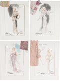 Movie/TV Memorabilia:Original Art, Randy McLaughlin of Jeran Collection - Vanna White, StefaniePowers, and Audrey Meadows Evening Gown Design Sketches.... (Total:4 )