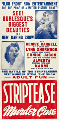 "Striptease Murder Case (Classic Pictures, 1950). Three Sheet (41"" X 84"")"