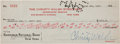 Autographs:Checks, 1927 Babe Ruth & Christy Walsh Signed Check....