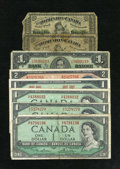 Canadian Currency: , DC-1c 25¢ 1870 Two Examples.. . ... (Total: 8 notes)