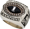 """Football Collectibles:Others, 2003 David Thompson Ohio State """"Jostens"""" Player's Championship Ring, With 1998 Player's Charm...."""