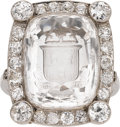 Estate Jewelry:Rings, Quartz, Diamond, Platinum Ring. ...