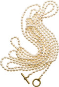 Estate Jewelry:Pearls, Freshwater Cultured Pearl, Diamond, Gold Necklace, Slane &Slane. ...
