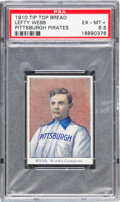 Baseball Cards:Singles (Pre-1930), 1910 D322 Tip Top Bread Lefty Webb PSA EX-MT+ 6.5 - Pop One, TheFinest Example Known! ...