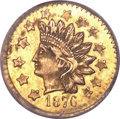 California Fractional Gold, 1876 50C Indian Round 50 Cents, BG-1061, High R.7, MS63 NGC....