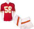 Football Collectibles:Uniforms, Circa 1989 Derrick Thomas Game Worn, Signed Kansas City Chiefs Complete Uniform, With Two Pairs of Cleats. ...