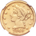 Territorial Gold, 1849 $5 Moffat & Co. Five Dollar VF20 NGC. K-4a, R.4....