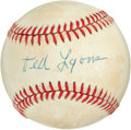 Autographs:Baseballs, 1980's Ted Lyons Single Signed Baseball....