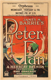 "Peter Pan (Paramount, 1924). Window Card (14"" X 22"")"