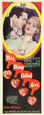 "This Thing Called Love (Pathé, 1929). Insert (14"" X 36"")"