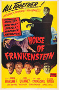 "Movie Posters:Horror, House of Frankenstein (Realart, R-1950). One Sheet (27"" X 41"")....."