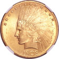 Indian Eagles, 1908 $10 Motto MS64 NGC. CAC....