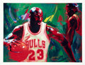 "Basketball Collectibles:Others, Circa 2000 Michael Jordan Signed UDA ""In the Paint"" Giclee byBeninati...."