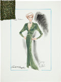Movie/TV Memorabilia:Original Art, Randy McLaughlin of Jeran Collection - Tippi Hedren Evening GownSketch....