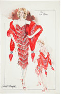 Movie/TV Memorabilia:Original Art, Randy McLaughlin of Jeran Collection - Cyd Charisse Evening GownDesign Sketch....