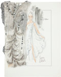 Movie/TV Memorabilia:Original Art, Randy McLaughlin of Jeran Collection - Ginger Rogers Evening GownDesign Sketch....