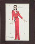 Movie/TV Memorabilia:Original Art, Randy McLaughlin of Jeran Collection - Ann Miller Costume DesignSketch....