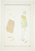 Movie/TV Memorabilia:Original Art, Mia Farrow Rosemary's Baby Costume Sketch....