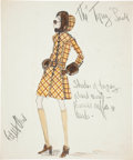 Movie/TV Memorabilia:Original Art, Edith Head Signed Topaz Costume Design Drawing....
