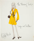 Movie/TV Memorabilia:Original Art, Edith Head Signed Costume Sketch....