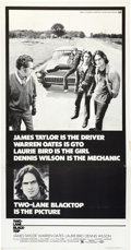"Movie Posters:Drama, Two-Lane Blacktop (Universal, 1971). Three Sheet (41"" X 81"").. ..."