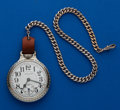 Timepieces:Pocket (post 1900), Hamilton 21 Jewel, 992 White Gold Filled with Chain. ...