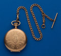 Timepieces:Pocket (post 1900), Hampden 16 Size Wm. McKinley Hunters Case and Chain. ...