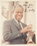 Music Memorabilia:Autographs and Signed Items, Louis Armstrong Autographed Photo....