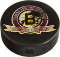 Hockey Collectibles:Equipment, 1995 Last Puck Ever Used at Boston Garden - From Collection ofReferee and Player Paul Stewart....