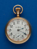Timepieces:Pocket (post 1900), Illinois 23 Jewel 18 Size Bunn Special, Heavy 14k Gold Swing Out Case. ...