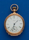 Timepieces:Pocket (pre 1900) , Waltham 14k Gold Model 74 Box Hinge Open Face Riverside. ...