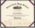 Baseball Collectibles:Others, 1943 Cum Posey Signed Homestead High School Diploma. ...