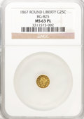 California Fractional Gold: , 1867 25C Liberty Round 25 Cents, BG-825, R.4, MS63 Prooflike NGC.(#710686)...