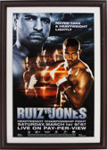 Boxing Collectibles:Autographs, Roy Jones Jr. and John Ruiz Multi Signed Fight Poster....