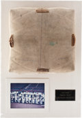 Baseball Collectibles:Others, Brooklyn Dodgers Signed Base Purportedly Used at Ebbets Field....
