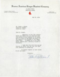 Baseball Collectibles:Others, 1934 Eddie Collins Signed Letter....