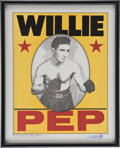 Boxing Collectibles:Autographs, Willie Pep Signed Print....