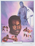 Boxing Collectibles:Autographs, Larry Holmes Signed Lithograph....