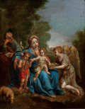 Fine Art - Painting, European:Antique  (Pre 1900), ITALIAN SCHOOL (17th Century). Holy Family with Infant St. John the Baptist and an Attendant Angel. Oil on copper . 17 x...