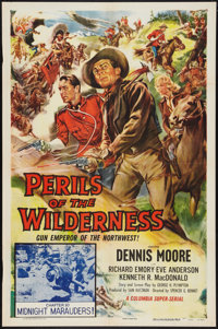 """Perils of the Wilderness (Columbia, 1955). One Sheet (27"""" X 41"""") Chapter 10 -- """"Midnight Marauders!""""..."""