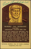 Autographs:Post Cards, Circa 1976 Cal Hubbard Signed Gold Hall of Fame Plaque....