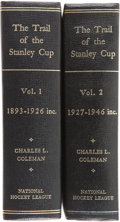 Hockey Collectibles:Publications, 1967 The Trail of the Stanley Cup Book Set (2), With ClarenceCampbell Signed Letter....