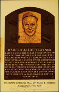 Autographs:Post Cards, 1960's Pie Traynor Signed Gold Hall of Fame Plaque....