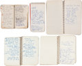 Autographs:Others, 1960-62 Moe Berg Handwritten Notebooks Lot of 5....