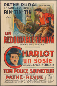 """Rin-Tin-Tin/Charlie Chaplin (Pathe, 1920s). Special French Affiche (31.75"""" X 47.5""""). Serial"""
