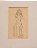 Movie/TV Memorabilia:Memorabilia, Willy Pogany Pencil Drawing, Included in His Drawing LessonsBook....