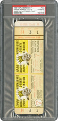 "Baseball Collectibles:Tickets, 1958 World Series Game 7 Full Ticket PSA ""Authentic.""..."