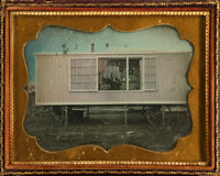 Stunning Half Plate Daguerreotype of a Traveling Photographer's Studio with Impeccable Period Provenance