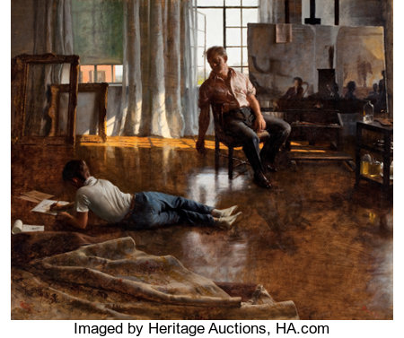JOHN KOCH (American, 1909-1978)Father and Son, 1955Oil on canvas30 x 36 inches (76.2 x 91.4 cm)Signed and dated ...